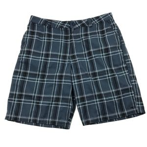 O'Neill Casual Flat Front Shorts Navy Plaid 36